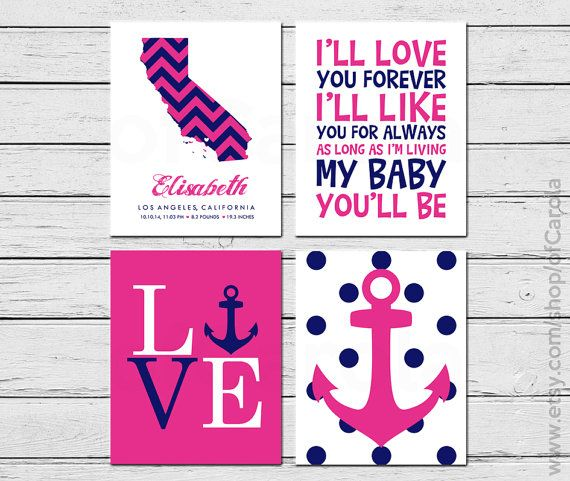 Birth Announcement Girl Stats I'll Love You Forever by ofCarola, $36.00