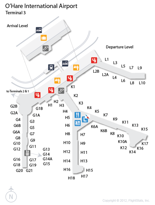 O'hare Map Terminal 3 : o'hare, terminal, FlightStats, O'hare, International, Airport,, Airport