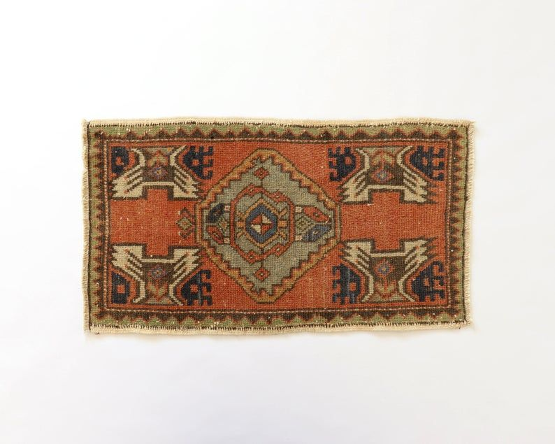 Small Rug 16x28 Size Door Entryway Qushak Ginger Rusty Etsy Small Rugs Rugs Vintage Turkish Kilim Rug