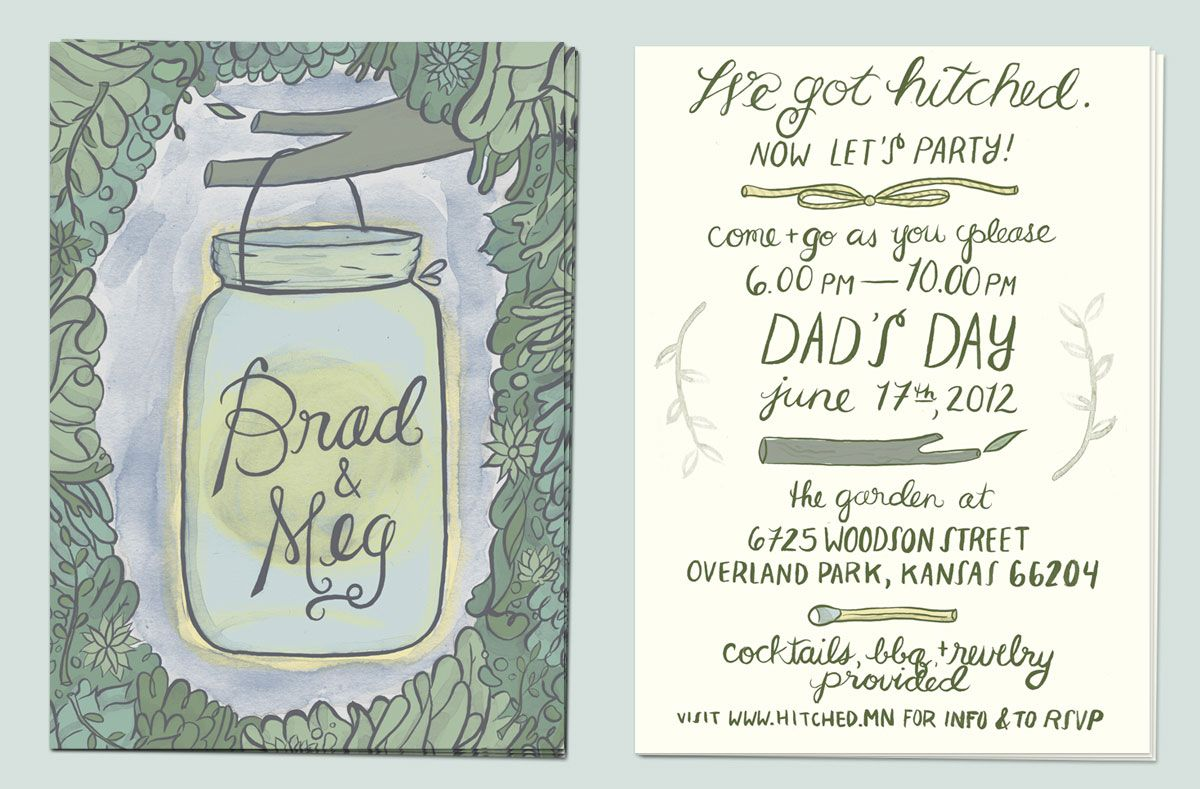 Informal Wedding Reception Invitations Wording: Love The Custom Lettering And Illustration For This