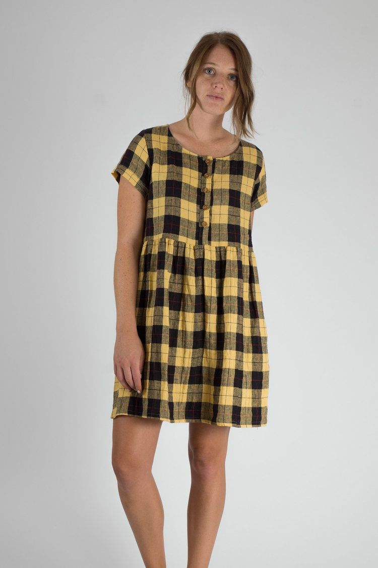 Rupert plaid linen button up short sleeve knee length dress
