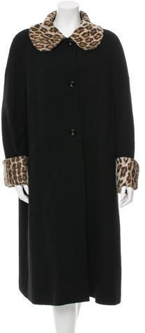 D&G Faux Fur-Trimmed Long Coat