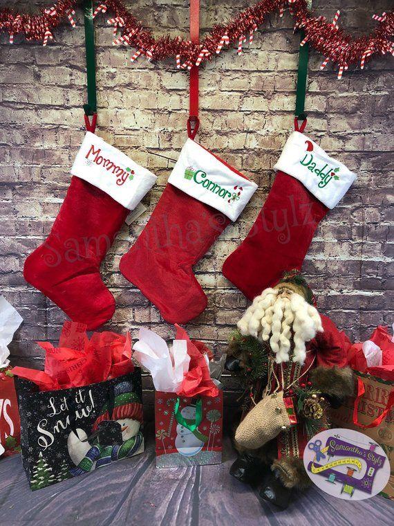 Embroidered Christmas Stockings.Custom Embroidered Christmas Stocking Traditional Plush