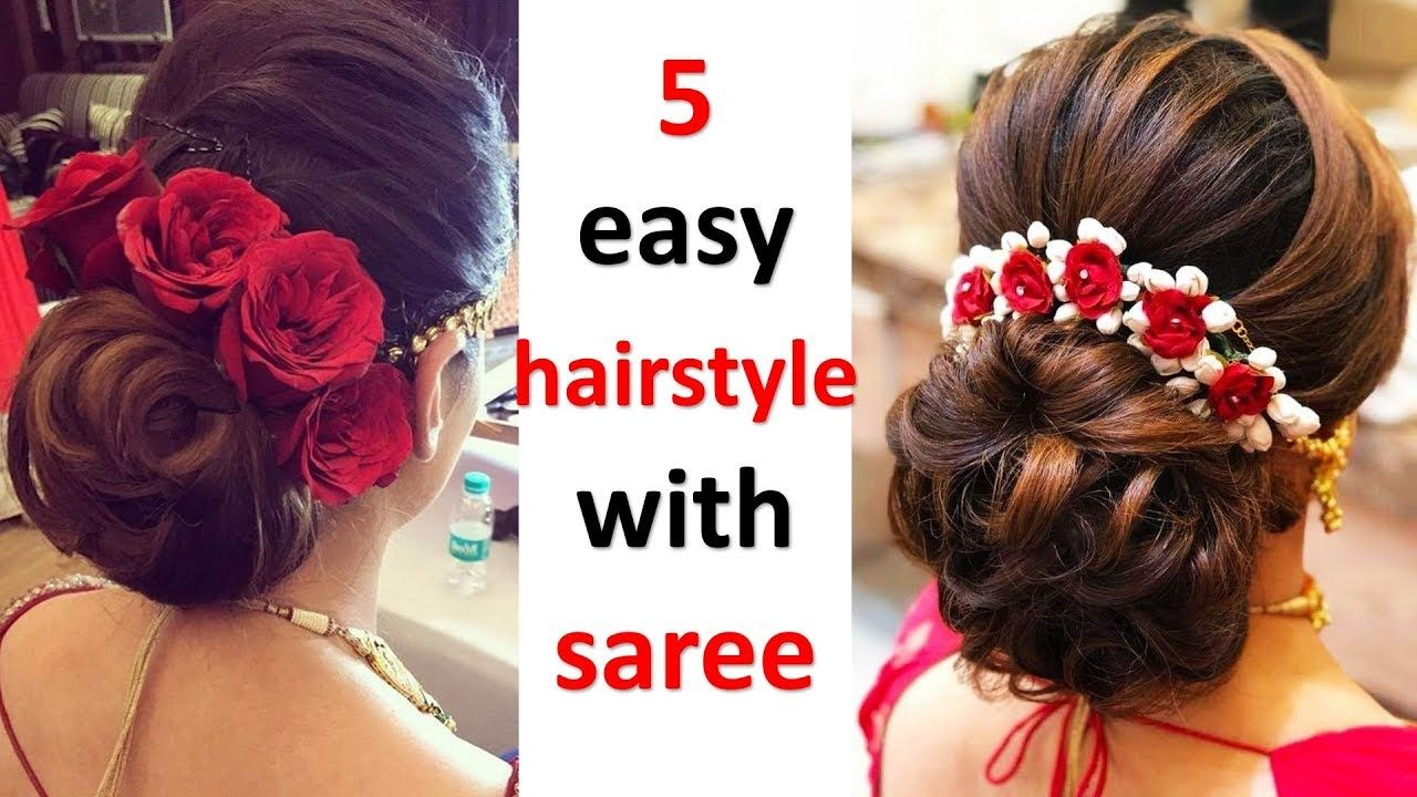 5 Easy And Quick Hairstyle With Saree Wedding Hairstyle Party Hair Hair Styles Classic Wedding Hair Diy Hairstyles