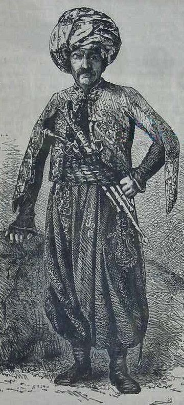 A Kurdish landlord from the region of Mount Hazon (Bitlis province).  Late 19th century.  The drawing was first published in 1894.