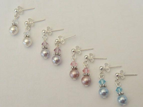 4 Pairs Of Swarovski Crystal / Pearl Earrings by AlwaysCrafty77, $38.00