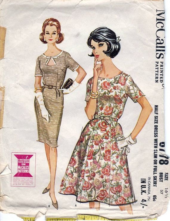 60s McCall's dress sewing patterns 6778, Bust 37 inches