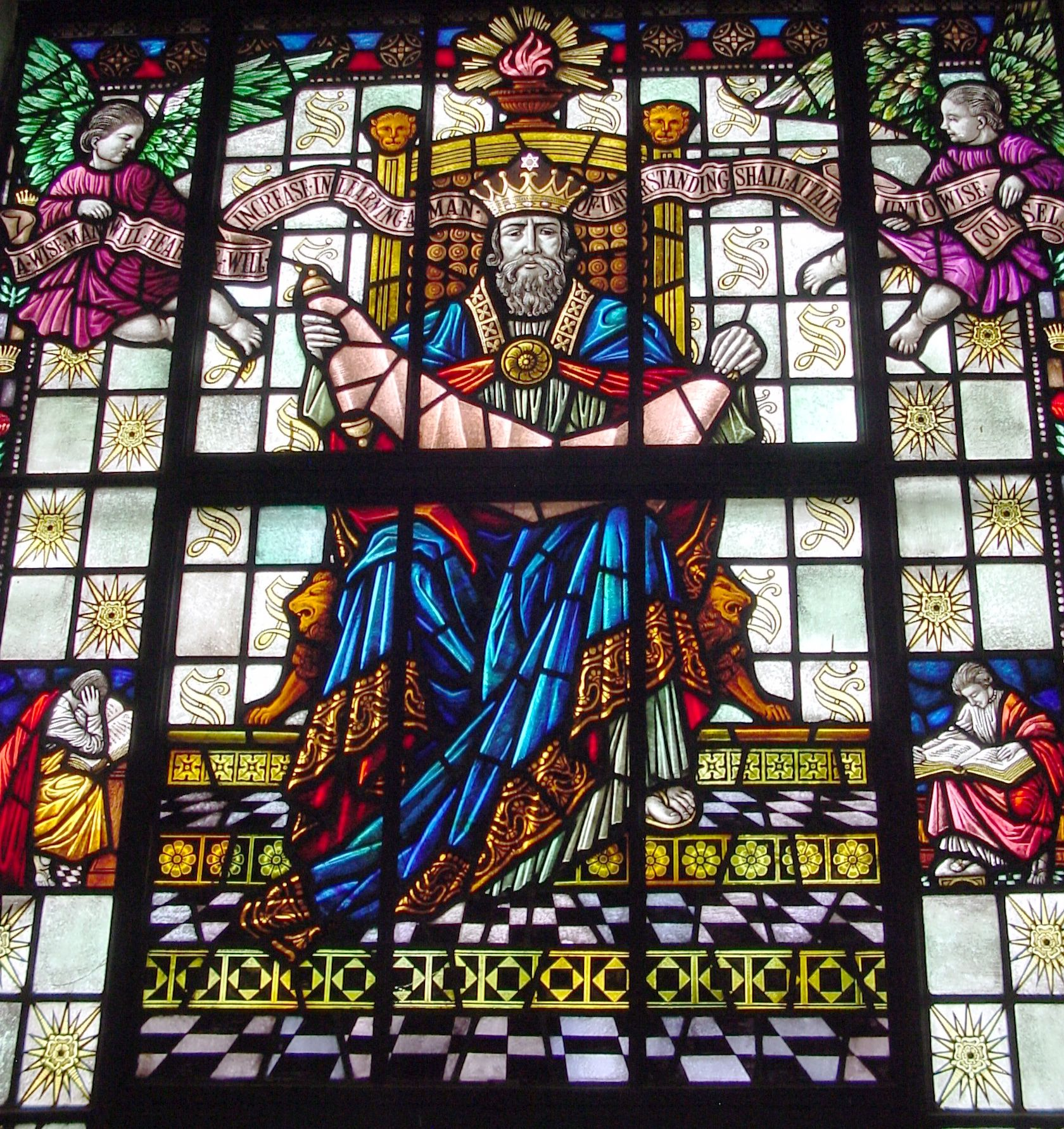 One of the many stained glass windows in the Old Teachers