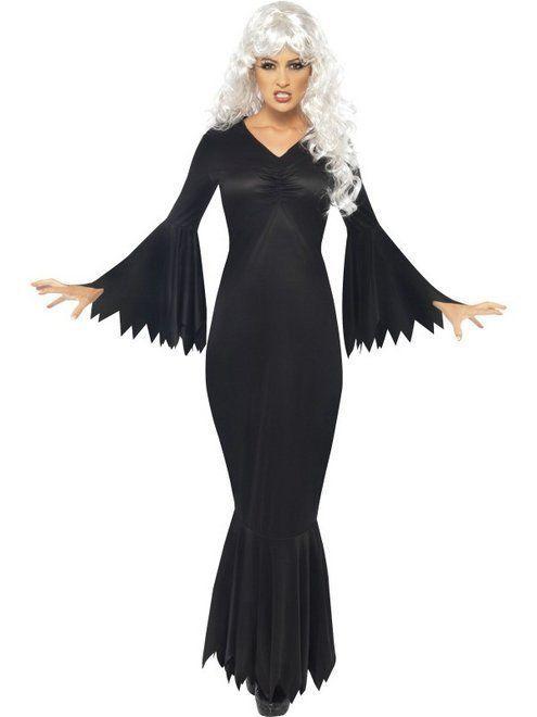 Sexy Midnight Vamp Long Vamp Witch Dress Morticia Dress Black