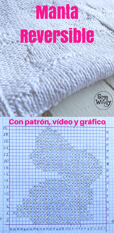 d6adb5e83ce1a Cómo tejer una manta reversible de bebé con conejitos para principiantes de  las dos agujas