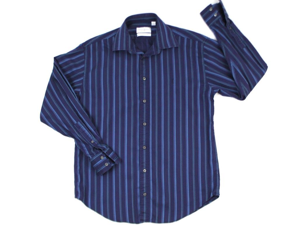 6291ee11e3690 YSL Men Shirt Purple Medium Stripe Cotton Business Smart YVES SAINT ...