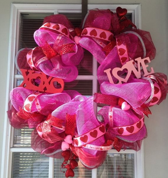 Pink And Red Valentines Day Deco Mesh Wreath Cute Decorations And