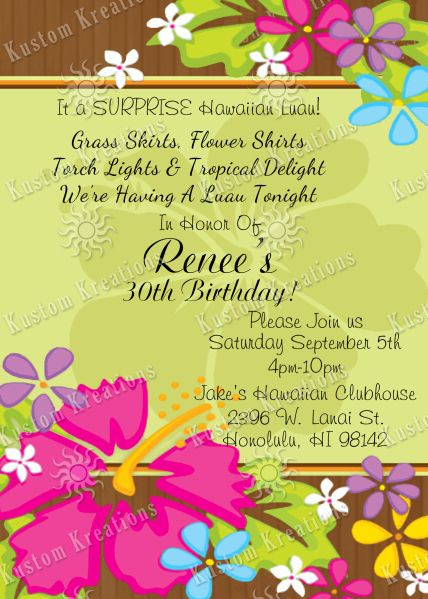 Hawaiian birthday invitations luau birthday invitations hawaiian hawaiian luau birthday invitation stopboris