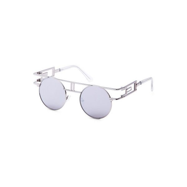 6bcd54f9fff SheIn(sheinside) White Metal Frame Cutout Mirrored Round Sunglasses  (201.405 VND) ❤ liked on Polyvore featuring accessories