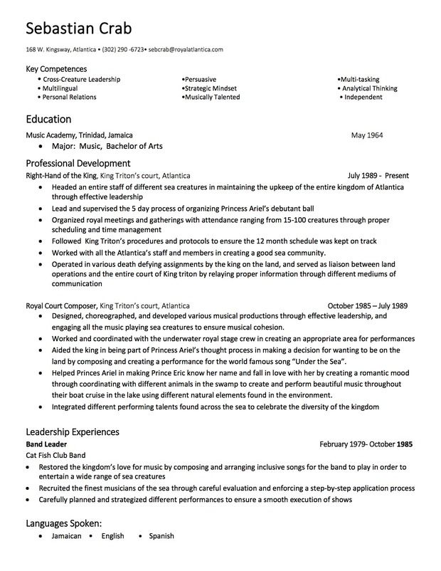 sabastian the crab u0026 39 s resume by john oyas of arizona state university