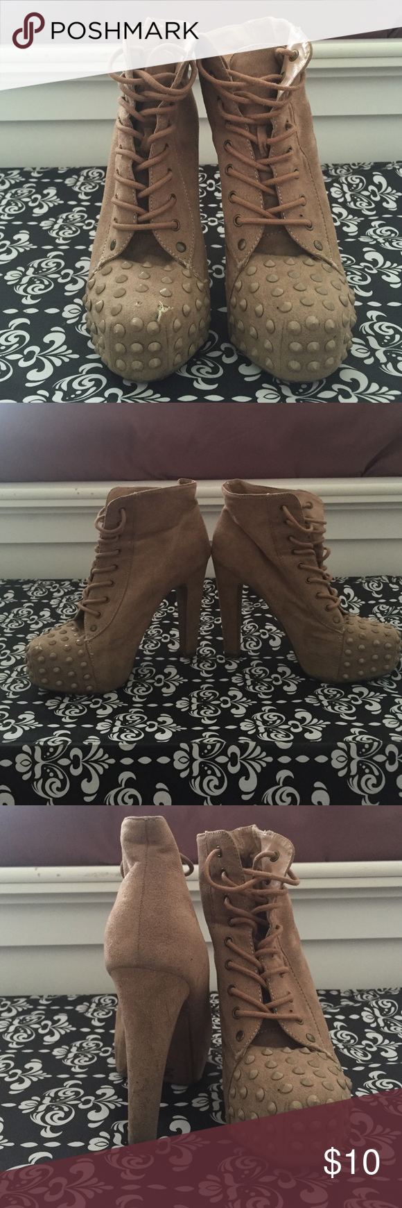 Tan high heel boot Has a small wear and tear in the front of the right boot, comfortable, casual Speed limit 98 Shoes Ankle Boots & Booties