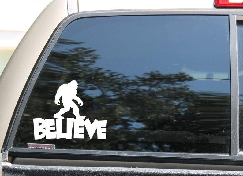 Believe In Sasquatch Bigfoot Car Window Vinyl Decal Etsy Vinyl Decals Automatic Car Wash Outdoor Weather