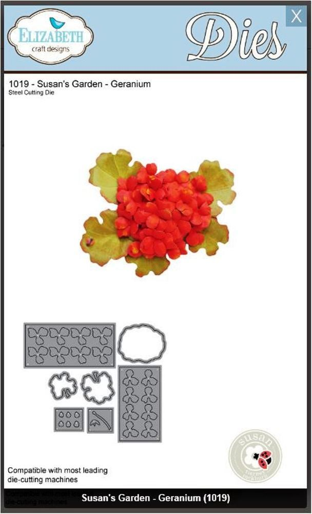 Elizabeth Craft Designs Cutting Die Set Susan S Garden Geranium