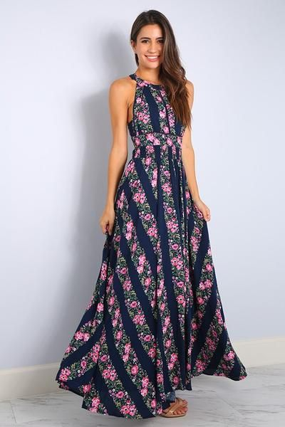 8fbbe15d2f Nydia Navy Floral Open Back Maxi Dress | Fashion Style - Bohemian ...