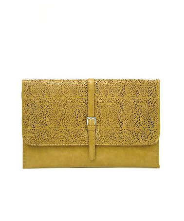 Mustard Oversized Laser Cut Clutch by On-Trend Accessories! on #zulilyUK today!