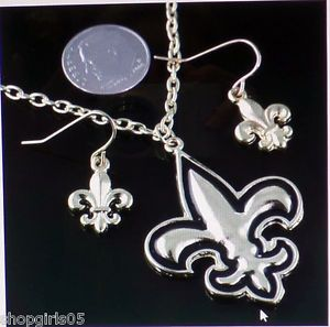 NEW! FLEUR DE LIS/NEW ORLEANS / SAINTS NECKLACE AND EARRING SET