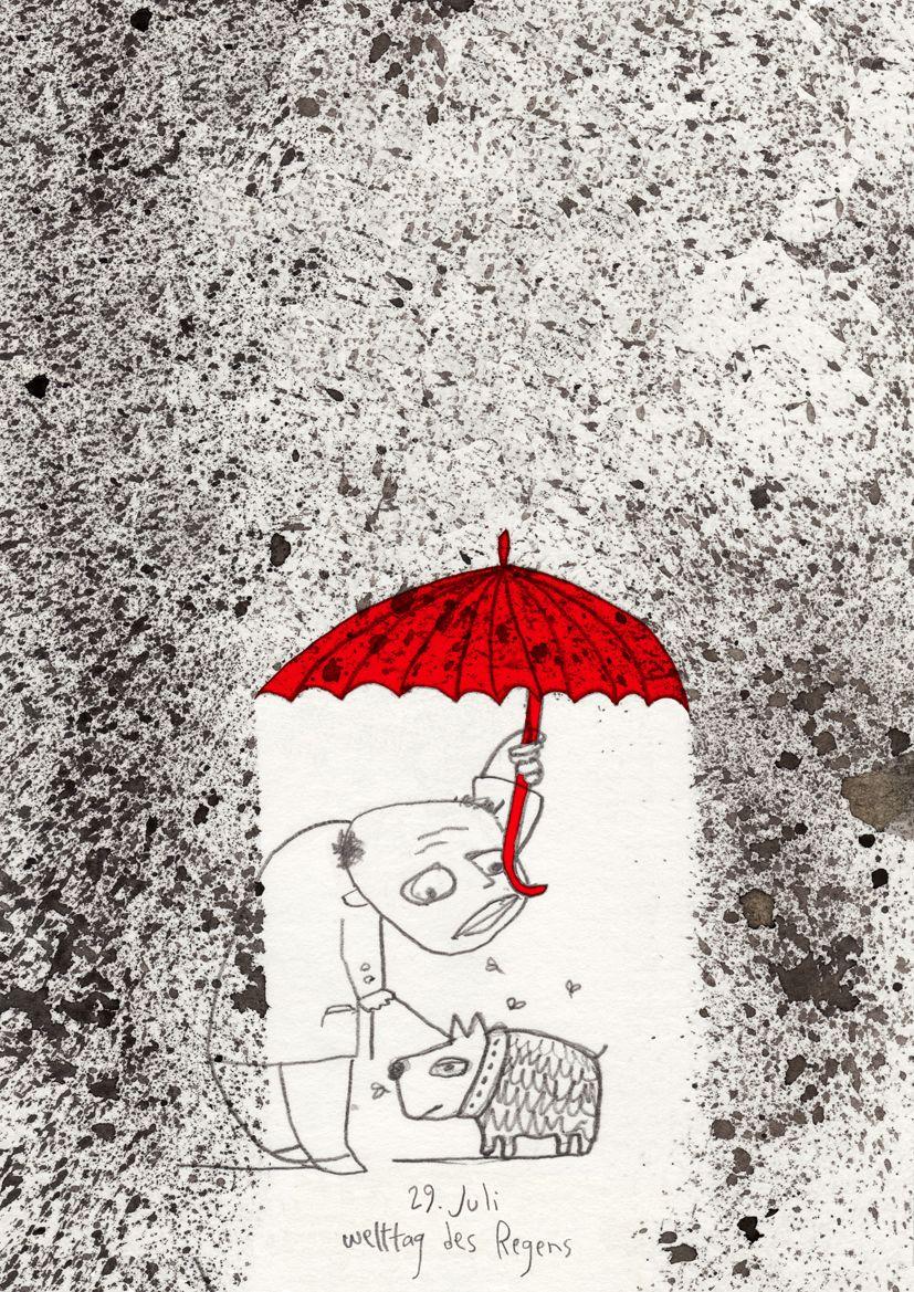 "July 29 -   International day of rain -     Wall-calendar-project 2011: ""calendar of memorial days""  - Published by Büchergilde - Frankfurt"