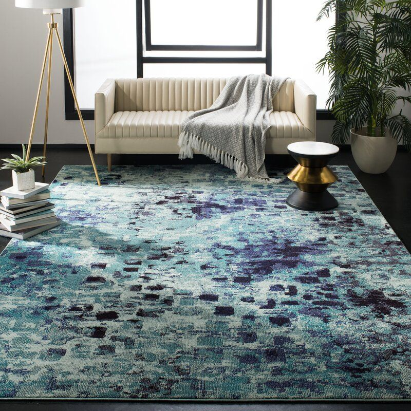 Indira Abstract Polypropylene Light Blue Multi Area Rug Cool