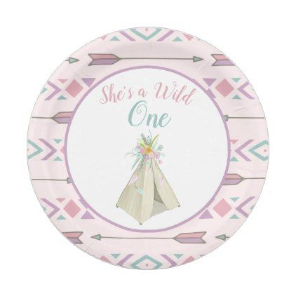 Floral Tribal Teepee Wild One 1st Birthday Paper Plate - floral style flower flowers stylish diy  sc 1 st  Pinterest & Floral Tribal Teepee Wild One 1st Birthday Paper Plate - floral ...