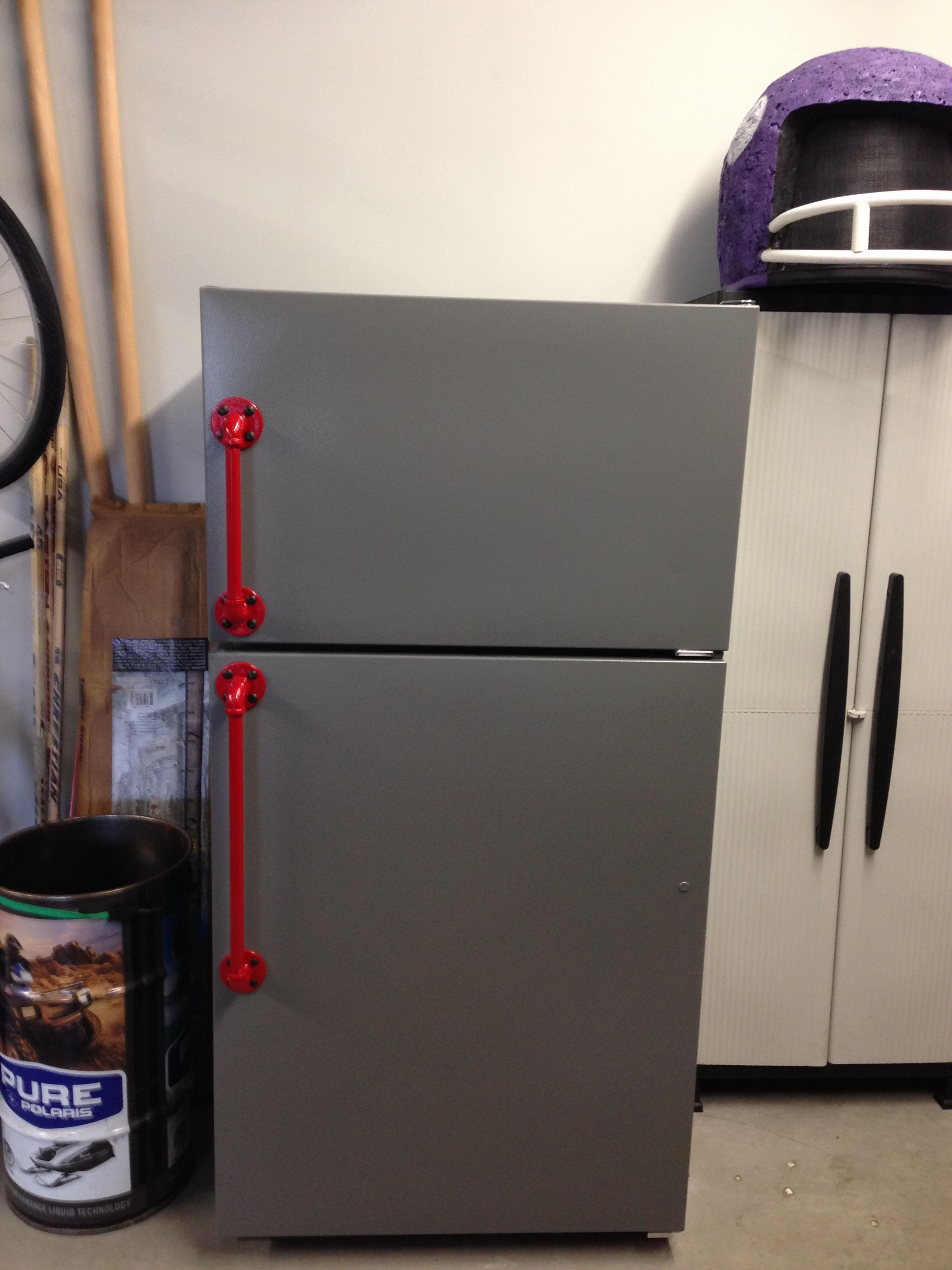 Just finished painting the garage fridge. Handles are