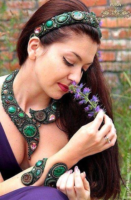 """Комплект украшений """"Дриада"""". Handmade. #beadwork"""