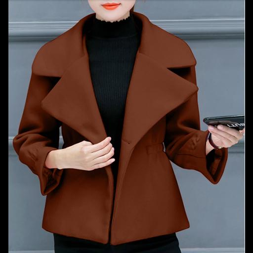 جاكيتات رسميه نسائية شتوي بياقة عريضة جاكيتات سادة من الصوف الثقيل بأكمام طويلة وعريضة الجاكيتات متوفرة بألوان Short Jacket Formal Shorts Jackets