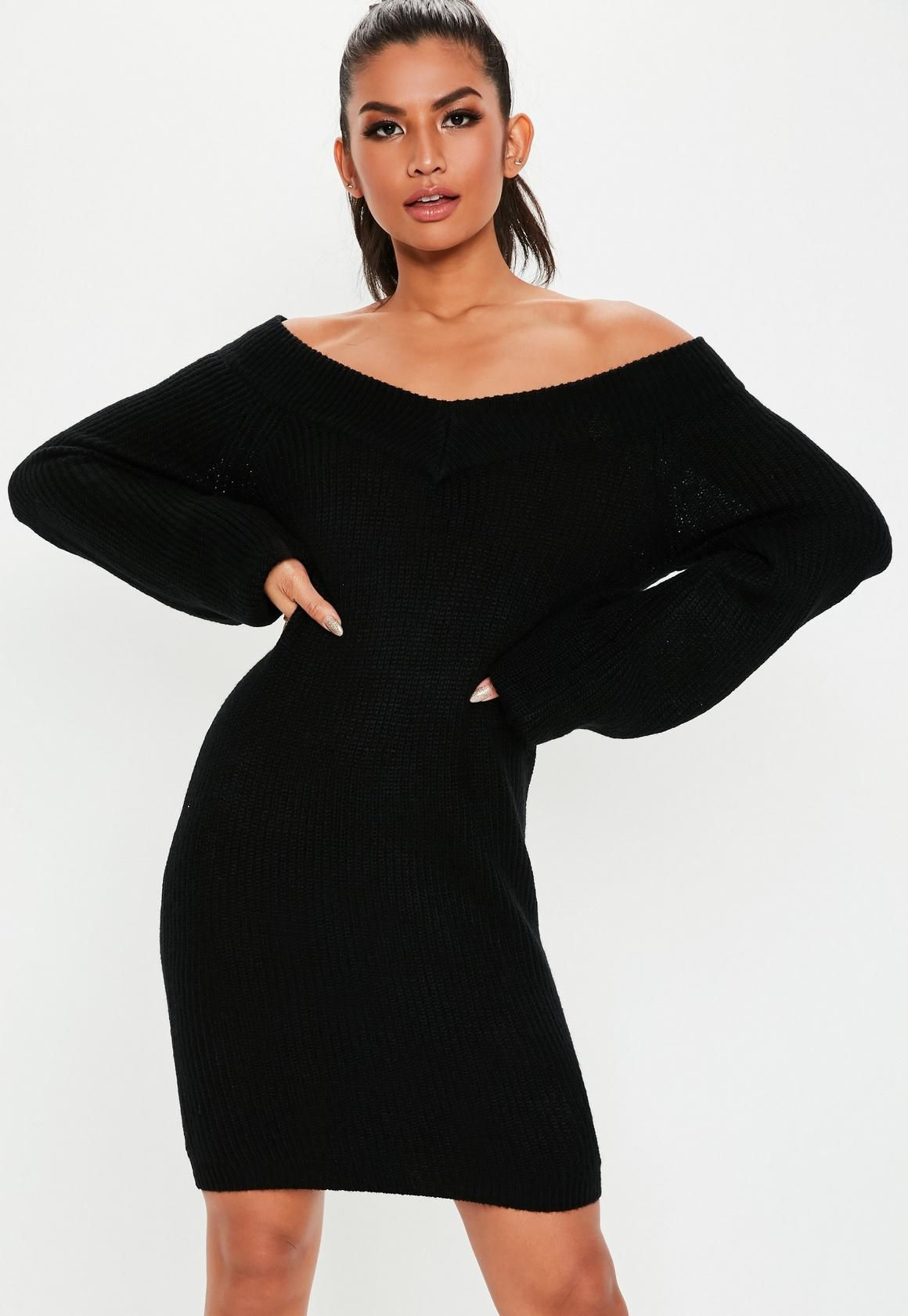 285a6bb3226 Tall Black V Neck Off Shoulder Sweater Dress in 2019 | Dresses and ...