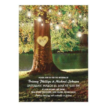 #wedding - #Rustic Mountain Lake Twinkle Lights Wedding Card
