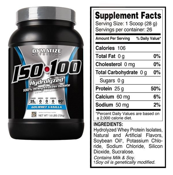 Iso 100 Hydrolyzed 100 Whey Protein Isolate Gourmet Vanilla Flavor 1 6 Lbs 725 Grams Whey Protein Protein To Build Muscle Isolate Protein
