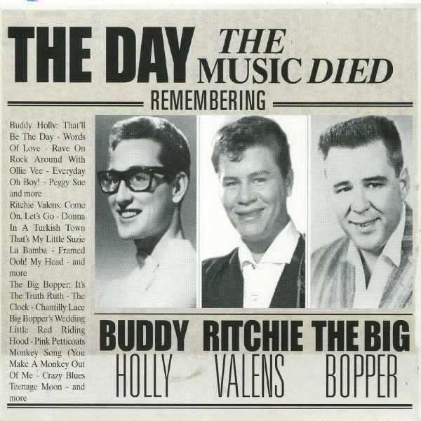"""On February 3, 1959, rock and roll musicians Buddy Holly, Ritchie Valens, and J. P. """"The Big Bopper"""" Richardson were killed in a plane crash near Clear Lake, Iowa, together with pilot Roger Peterson."""