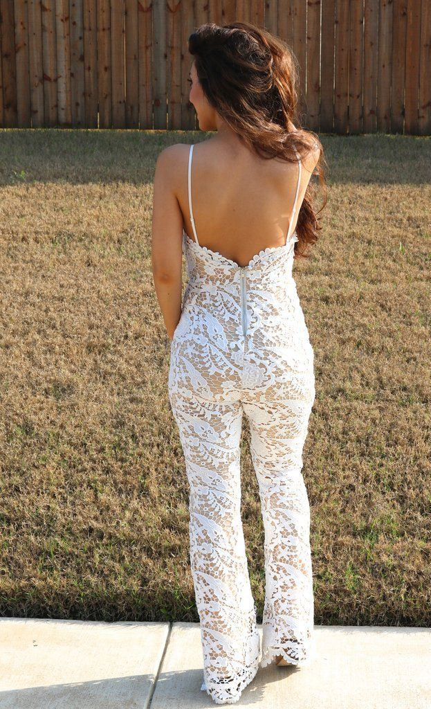 5b63d73f5a0 The cutest jumpsuit playsuit ever is here just in time for spring! Our white  lace crochet jumpsuit has a flare silhouette. Open back and sleeveless  details ...