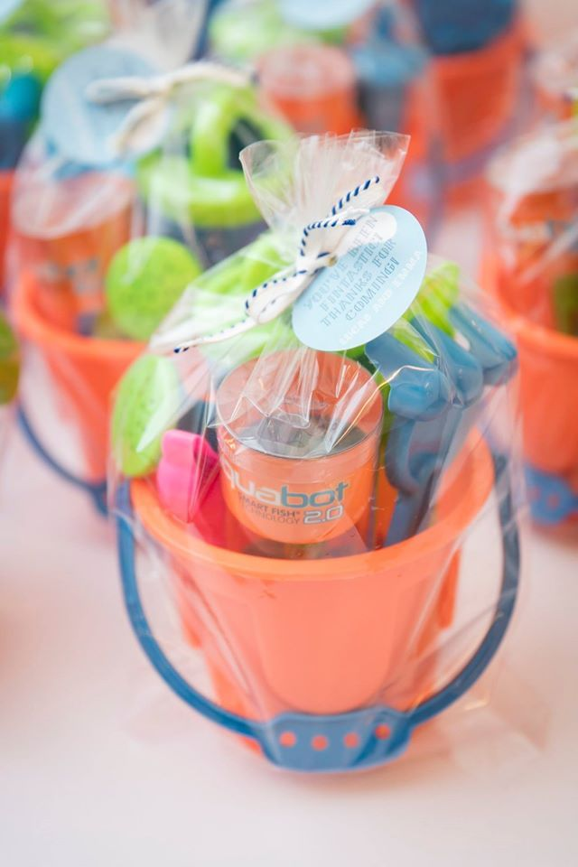Beach bucket party at childrens Sharks and Mermaids birthday party