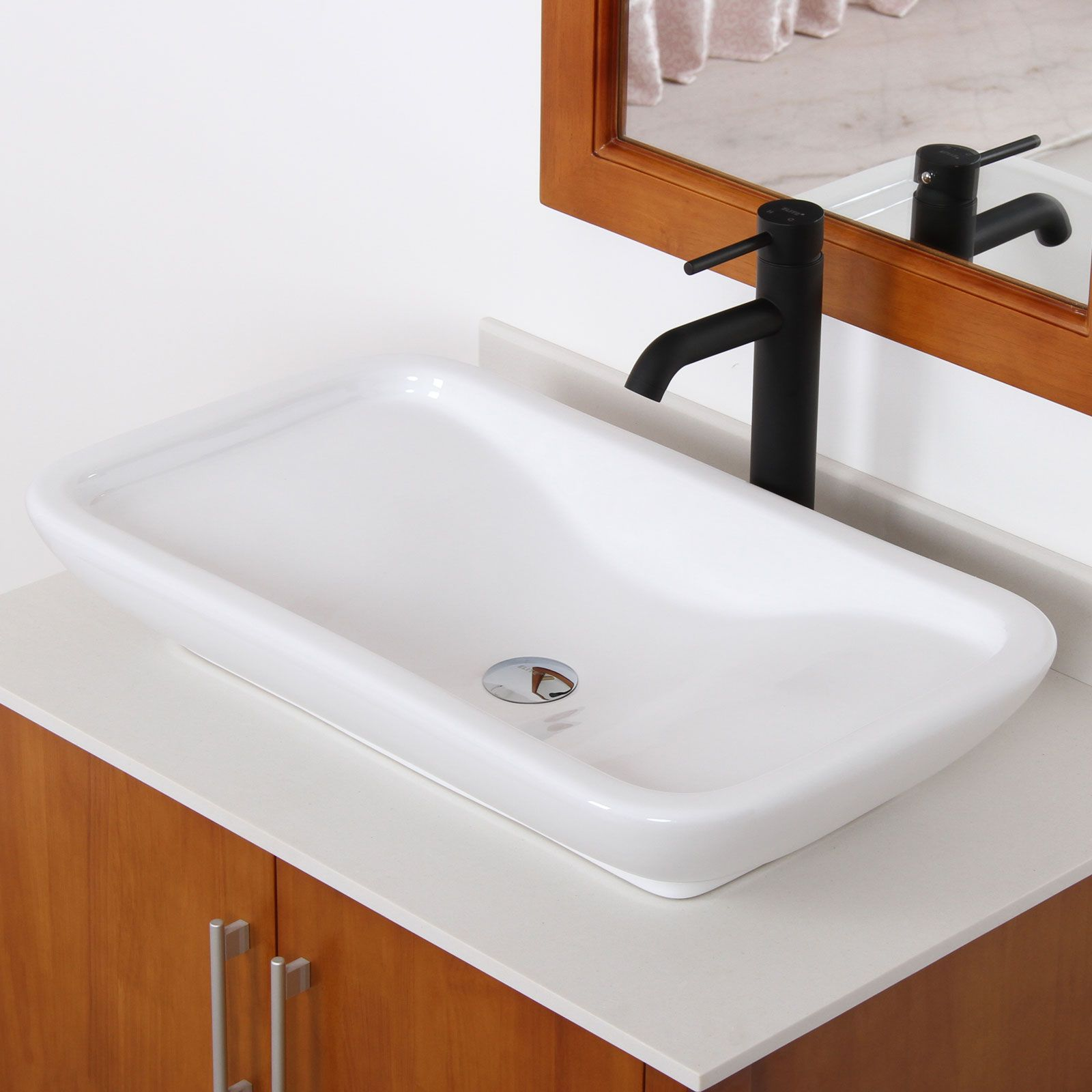 Elite Ceramic Bathroom Sink with Unique Rectangle Design Intended