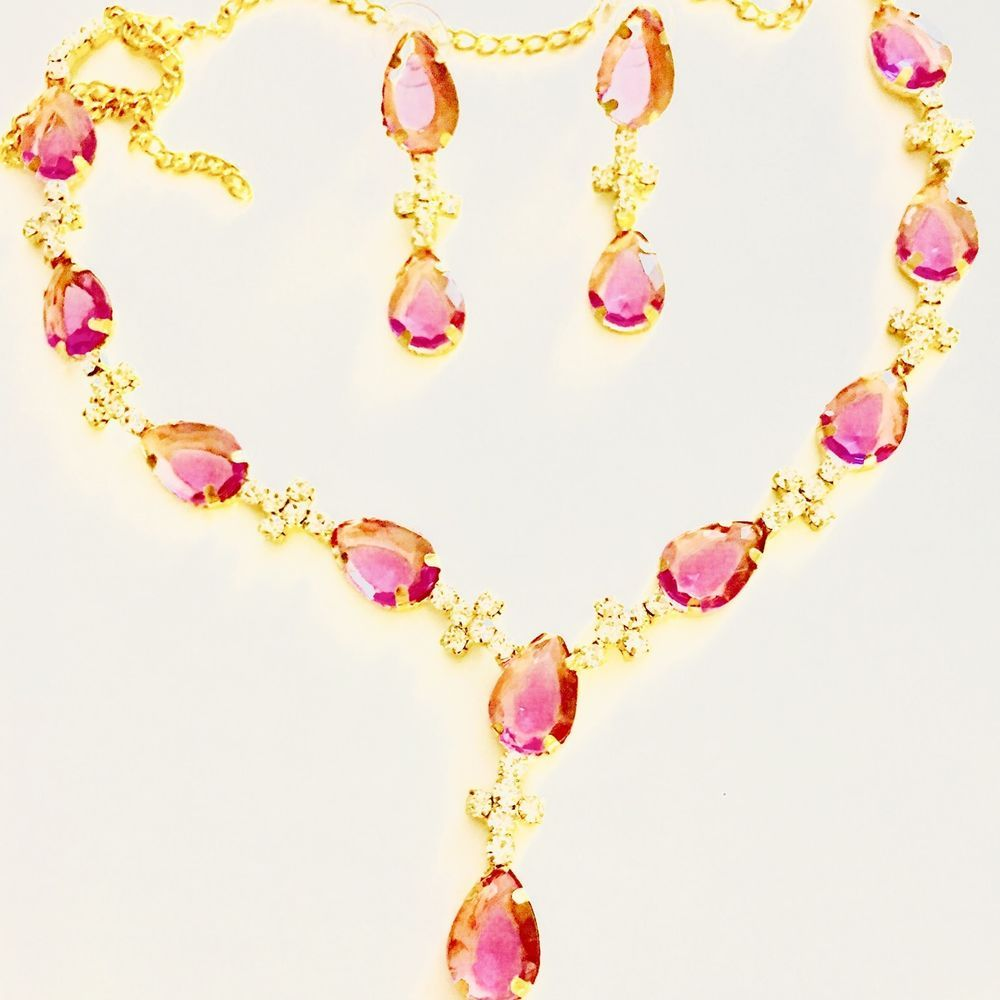 Women necklace pendant earrings jewelry set gold tone white pink