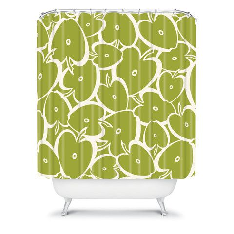 Heather Dutton Apple Orchard Shower Curtain Green Chartreuse