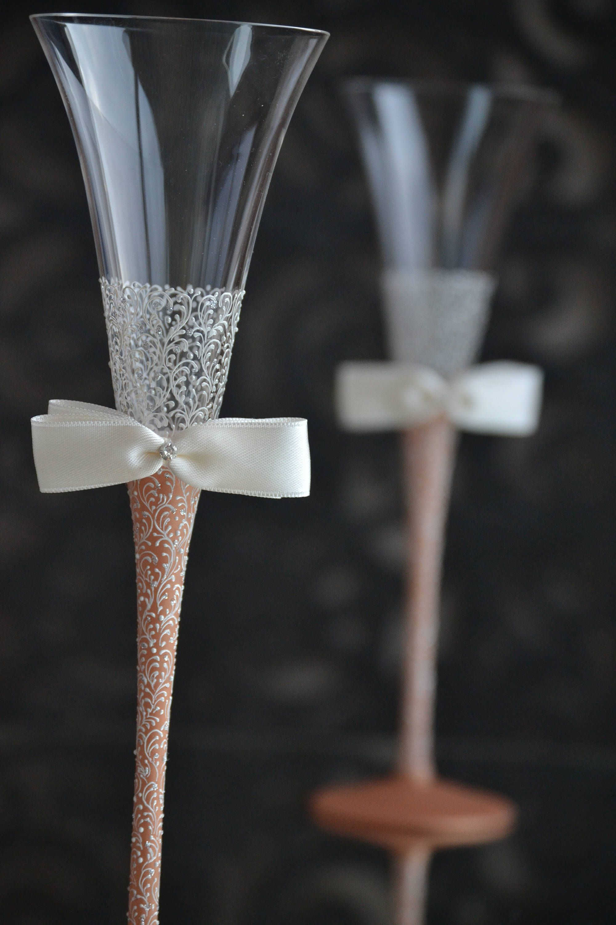 Rose Gold Wedding Glasses Toasting flutes Bride Groom Glass