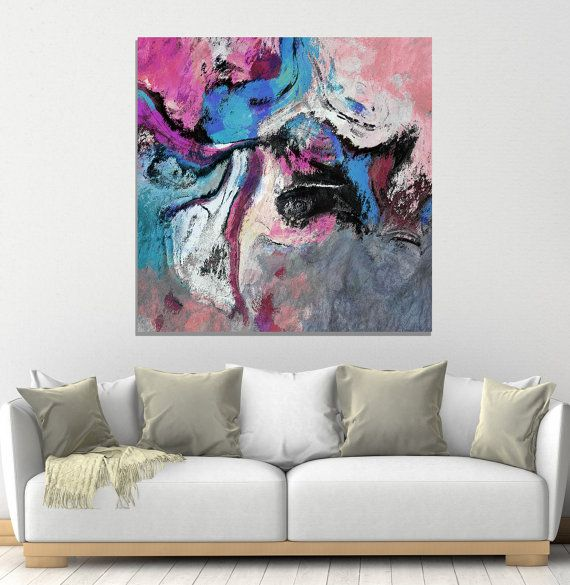 Canvas prints of blue and pink abstract painting modern  contemporaray wall art to be also surrealist print as rh pinterest