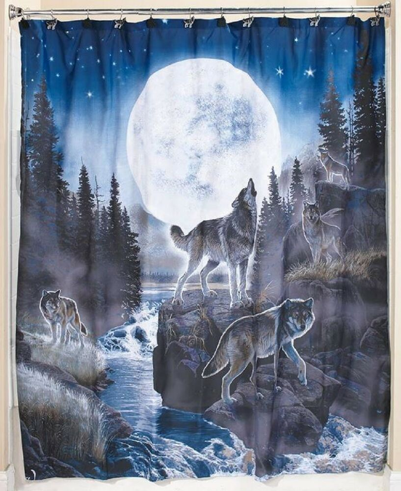 Wolf Bath Collection Wildlife Shower Curtain Wolf Pack Bathroom