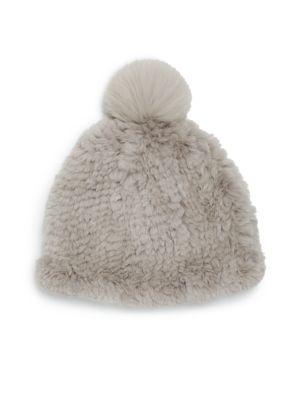 a78e0d759cb ADRIENNE LANDAU Knit Rabbit  amp  Fox Fur Hat.  adriennelandau  hat Fur Pom