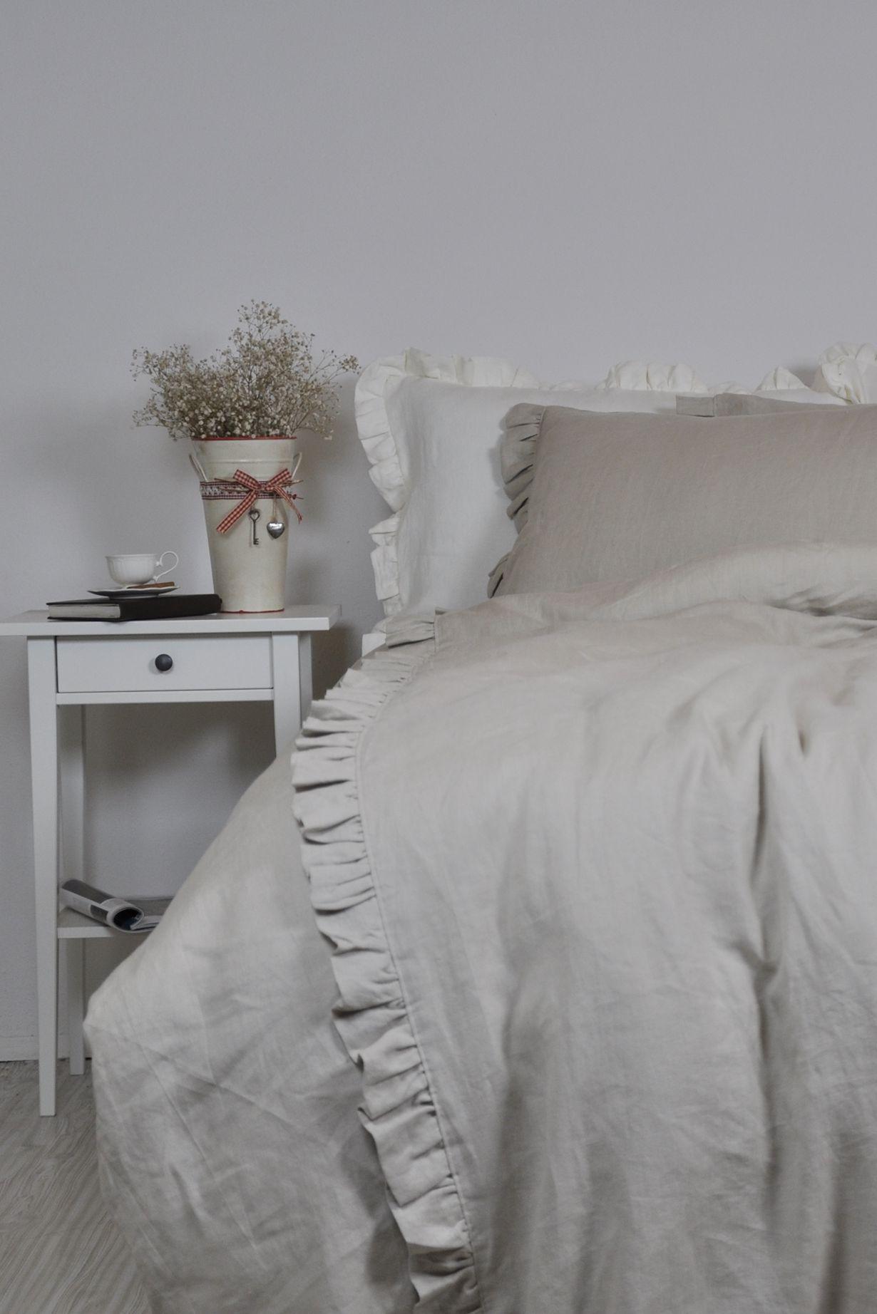 Linen Duvet Cover Set in Full Queen King Size Oatmeal