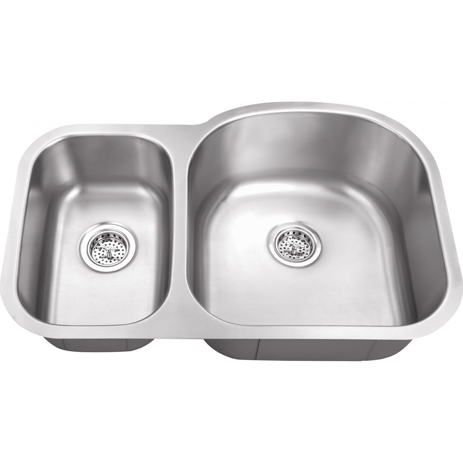 Platinum Sinks 31 X 20 16 Gauge 30 70 Offset Double Bowl Stainless Steel Undermount Sink Pslux 308rv Undermount Stainless Steel Sink Double Bowl Kitchen Sink Sink