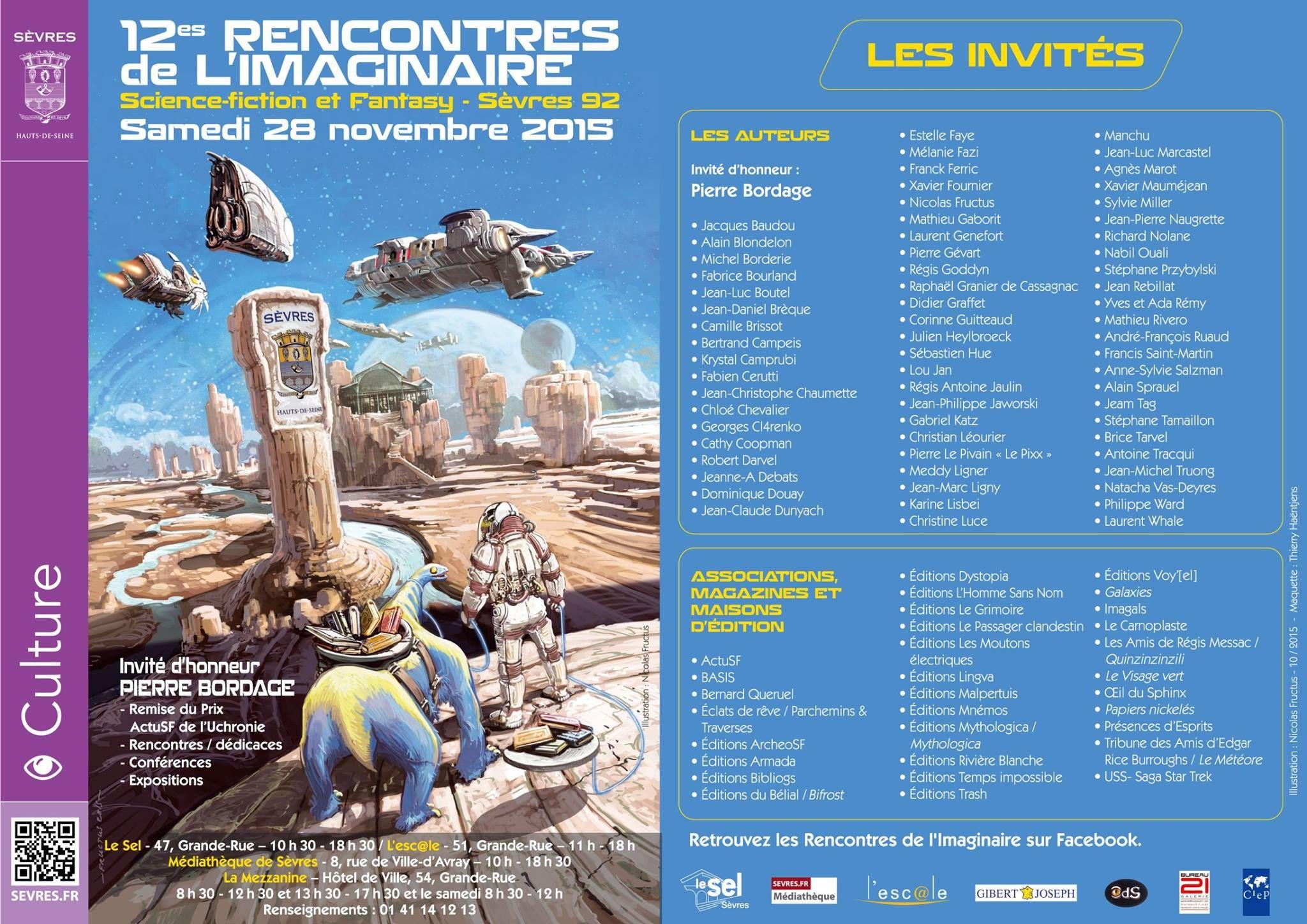"""12e """"Rencontres de l'Imaginaire"""" Sèvres 28 novembre 2015"""