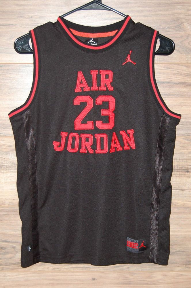 4e6f98ad54a144 Air Jordan Jumpman 23 Basketball Jersey Boys Large 12 13 Black Red Fly 1982   NikeAirJordan  Everyday