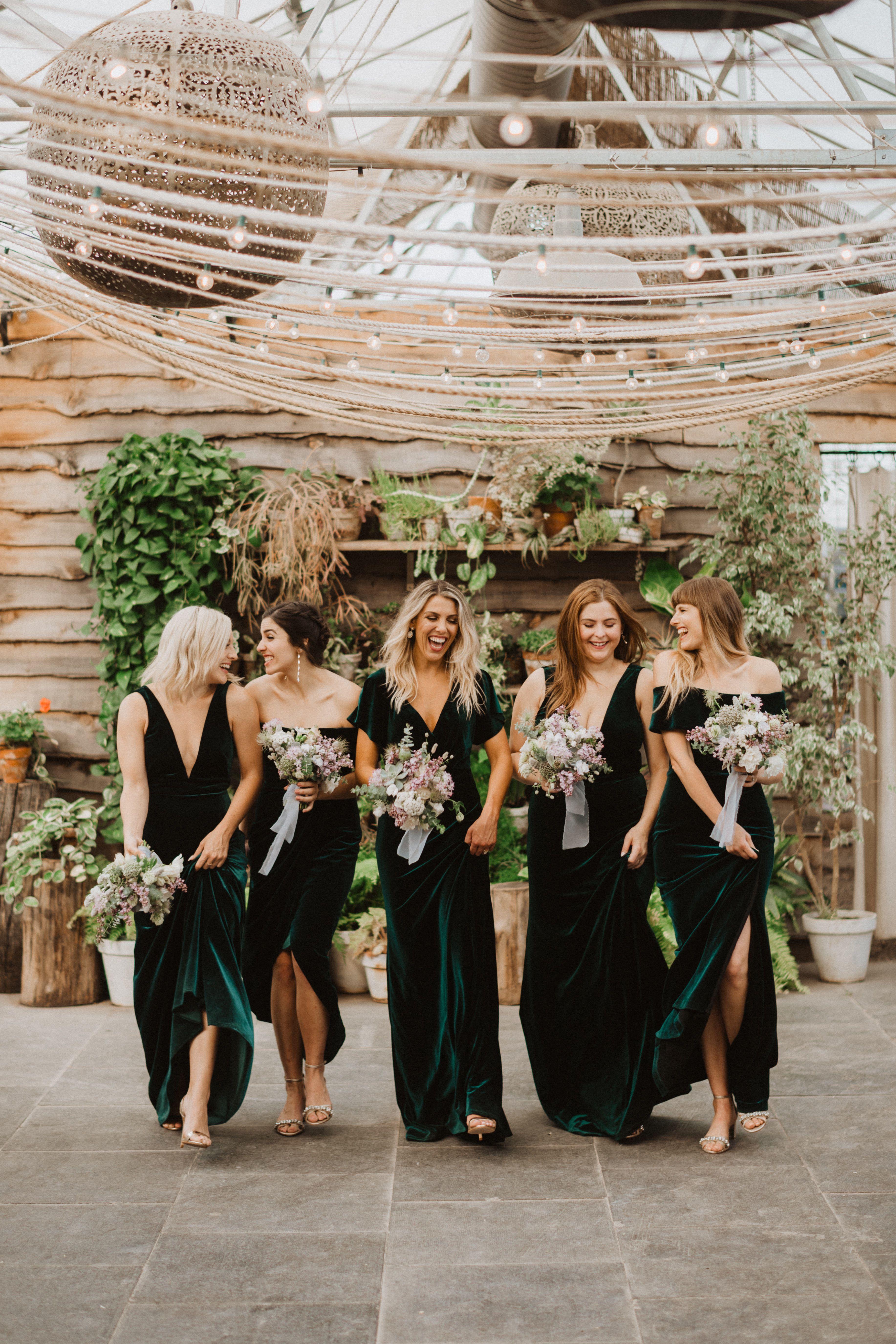 Photographer Patrobinsonphoto Maids Katerinaseigel Noelledowning Salt Emerald Green Bridesmaid Dresses Forest Green Bridesmaid Dresses Winter Bridesmaids