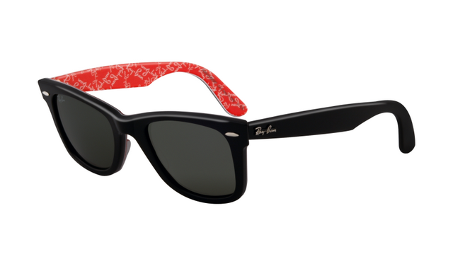 buy wayfarer sunglasses  Ray Ban RB2140 Wayfarer Sunglasses Black on Text Red Frame Cryst ...
